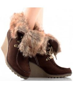 Woman's Brown Suede Hiking Faux Fur Fold Over High Heel Wedge - SHOES  Find More: http://www.imaddictedtoyou.com/