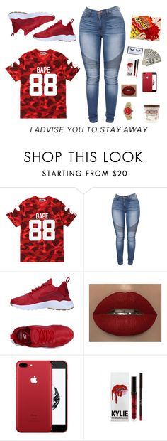"""""""BAPE"""" by ashlenqueen ❤ liked on Polyvore featuring A BATHING APE, NIKE, Rolex, Eco Style, Huda Beauty and bape"""