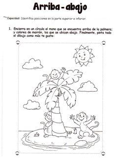 Ficha imprimible de matemáticas para 5 años. Tema: arriba - abajo Actividad: Encierra en un círculo el mono que se encuentra encima de la palmera; y colorea de marrón, los que se ubican abajo. Finalmente, pinta todo el dibujo como más te guste.