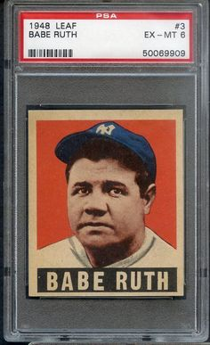 88f3aabd81d5e 1948-49 LEAF   3 BABE RUTH YANKEES PSA 6 EX-MT 357553 (KYCARDS)