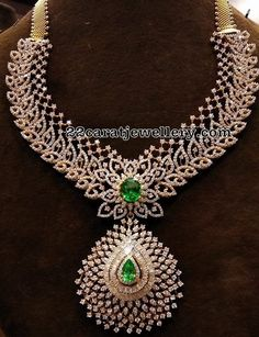 Diamond Necklace Glorious CZ Necklace with Jhumkas - Latest Collection of best Indian Jewellery Designs. Diamond Necklace Set, Diamond Hoop Earrings, Diamond Jewelry, Gold Jewelry, Fine Jewelry, Indian Diamond Necklace, Diamond Choker, Emerald Diamond, Solitaire Diamond