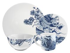 Irezumi 4-piece service for one (dinner plate, side plate, cereal bowl, mug) - Ink Dish Store