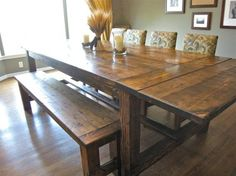 Custom Built, Solid Wood Modern Farmhouse Dining Furniture. 7u0027 L X 37  Farmhouse Dining Room Table
