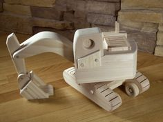 Wooden Excavator Toy by KringleWorkshops on Etsy