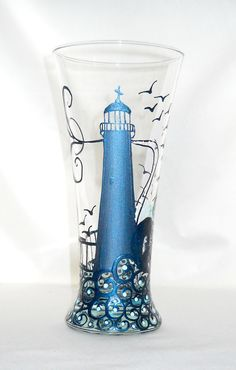 Lighthouse Pilsner Glass - Hand-painted