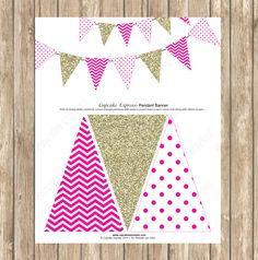 DIY Pendant Banner Birthday girl Hot Pink Gold PRINTABLE