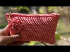 かぎ針編みバッグ: ローズ クラッチ - YouTube