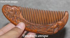 China Boxwood Wood Carved Feng Phoenix Beauty Belle Hair Comb Tangle Teezer…