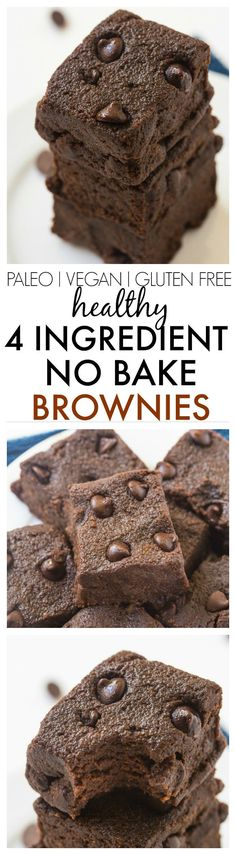 Healthy 4 Ingredient No Bake Brownies- SO moist, gooey and fudgy but with NO butter, oil, sugar, eggs or odd ingredients and ready in no time! Freezer friendly too! {vegan, gluten free, paleo recipe}- thebigmansworld.com
