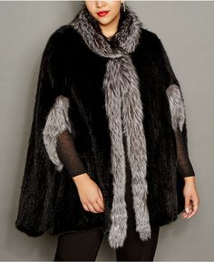 99b0552ee49 The Fur Vault Plus Size Fox-Trim Knitted Mink Fur Cape  ShopStyle   MyShopstyle  fallfashion  wearitloveit Purchase the item click for more  information or to ...