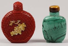 """<b>Cinnabar snuff bottle with MOP fruit inlay along with a carved malachite snuff bottle</b> tiger eye stopper in malachite bottle 2 3/4"""" and 2 1/2"""""""