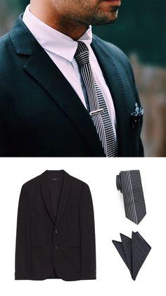 Shop The Look - Men's Black Retro Design Necktie