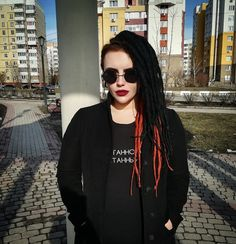 Dreadlocks, girl, style, black, glasses, coat, beauty, dread, black style, cool, informal, unusual beauty, tunnels, piercings, punk, gothic, coat, hair, Russia, model, Strange girl, makeup, nails, life, beautiful girl, rock