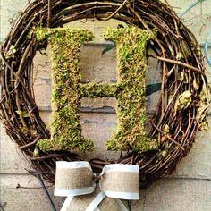 Custom Monogram Moss Letter Wedding Wreath - wedding decor