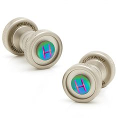 Round Brushed Chrome and Scarab Cufflinks