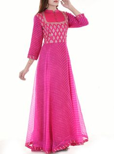 magenta lehriya dress