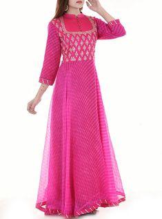 Kota doriya fabric and georgette Kurti Designs Party Wear, Kurta Designs, Blouse Designs, Indian Designer Outfits, Designer Gowns, Designer Anarkali, Indian Dresses, Indian Outfits, Anarkali Dress
