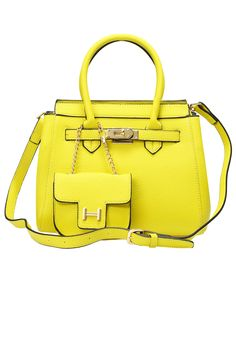 Neon Yellow Metal Buckle Bag With Wallet 33.00
