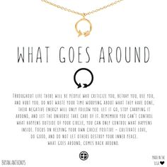 Bryan Anthonys What Goes Around karma necklace. What goes around, comes back around. $39