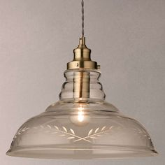 BuyJohn Lewis Hadley Etched Glass Pendant Ceiling Light, Clear/Antique Brass Online at johnlewis.com