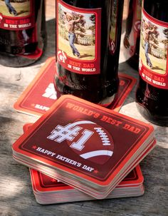 Worlds Best Dad Coasters, beer labels, gift tokens #fathersday #football #personalized