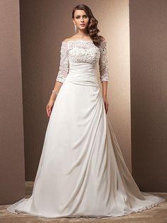 Lanting Bride® Corte en A Tallas pequeñas / Tallas Grandes Vestido de Boda - Clásico y Atemporal / Glamouroso Inspiración Vintage Corte - MXN $3,720.39