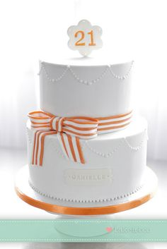Orange and white stripe with lustre pearls cake by Bake-a-boo Cakes NZ, via Flickr