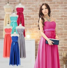 Strapless Lovely Long Bridesmaid Dress Party Dress 673 A-Line Wedding Dresses   Buy Wholesale On Line Direct from China