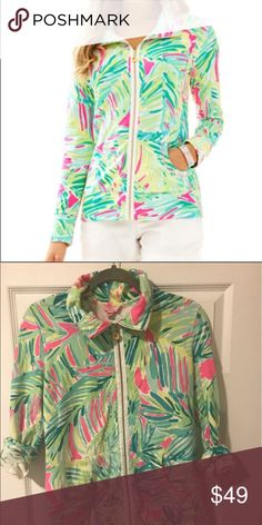 Lilly Pulitzer Leona Zip Up Print: Tropical Storm, full zip logo palm zipper, long sleeve, two front pockets Lilly Pulitzer Tops Sweatshirts & Hoodies