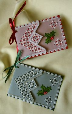 Two little gift tags that I made to go on Christmas presents. Christmas Flowers, Christmas Tag, Christmas Crafts, Christmas Presents, Vellum Crafts, Diy And Crafts, Arts And Crafts, Parchment Cards, Card Patterns