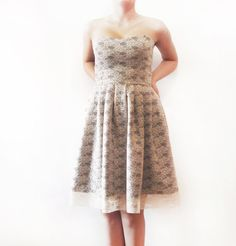 Navy Dream  Ivory Lace Dark Navy Cotton bridesmaid dress by dhela, $120.00