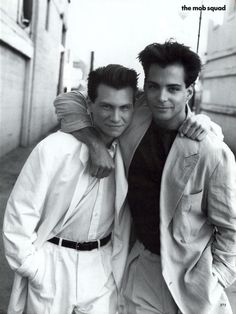 I think I had this picture hanging on my bedroom wall many, many, many years ago... ☆ Christian Slater & Richard Grieco | Photography by Dewey Nicks | For Vogue Magazine US | March 1991 ☆