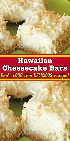 Hawaiian Cheesecake Bars - try this simple to make and delicious recipe for your next get together, potluck or dessert Cookie Desserts, Easy Desserts, Cookie Recipes, Delicious Desserts, Dessert Recipes, Yummy Food, Hawaiian Desserts, Bar Recipes, Yummy Drinks