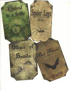LOT OF~12 Vintage look LABELS~Halloween Creepy ~primitive labels ~ | eBay