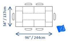 """Ideal dining table dimensions required for 6 people = 96"""" x 54"""".  minimum dining table dimensions for 6 = 78"""" x 40"""""""