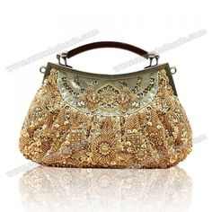 Wholesale Party Elegant Women's Evening Bag With Beaded and Sequins Design (GOLD), Clutches - Rosewholesale.com