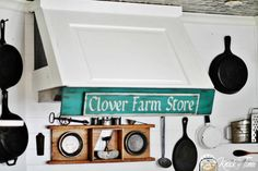 "Farmhouse Kitchen Wall with Vintage Kitchen Decor, and a Handmade ""Antique"" Sign!  Many more details at KnickofTime.net"