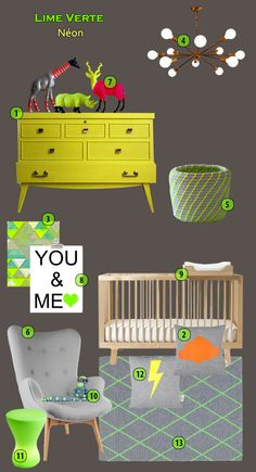 Neon boy nursery unisex yellow and green