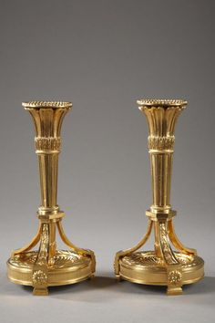 Pair of #candlesticks #LouisXVI #style in #gilt #bronze. Circa #1850. For sale on Proantic by Galerie Atena.
