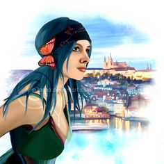 Karou from Daughter of Smoke and Bone by Laini Taylor, artwork by ar1anna on DeviantART