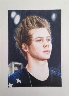 Fan art colored pencil drawing of Luke Hemmings