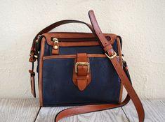Preppy Vintage Liz Claiborne Purse in Navy and Cognac Leather. $20.00, via Etsy.