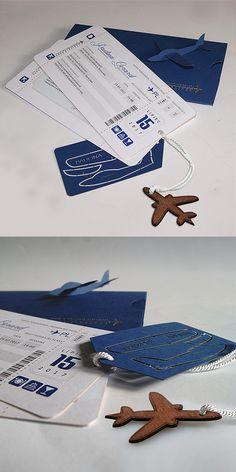 wedding cards, design, invitation, plane, ticket, fly, unusual