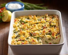 This Vegetable Kugel Casserole works as a main dish for your vegetarian guests and a side dish for everyone else! Sponsored by Daisy Sour Cream #DollopOfDaisy #ad