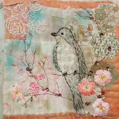 Emily Henson - bibliboo vintage textiles hand stitched - so pretty. Fabric Birds, Fabric Art, Fabric Crafts, Free Motion Embroidery, Embroidery Applique, Machine Embroidery, Thread Art, Thread Painting, Vogel Quilt