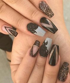 Black gray matte nails nailart design @malihka702_nails