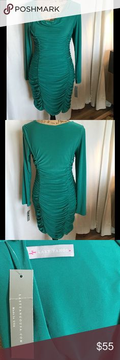Amazing NWT Last Tango Cocktail Dress Super Sexy Ruched Dress in beautiful green color. Bust 16.5. Length 33. 92% Poly. 8% Spandex. Hand wash. Last Tango Dresses