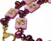 Marilyn1545 Marilyn Rush  #Jewelry #Necklace #MotherOfPearl-Fuchsia #Crystals #Pearls-Plum http://www.etsy#.com/listing/67307614 #Handmade #Unique #Original #OOAK $35