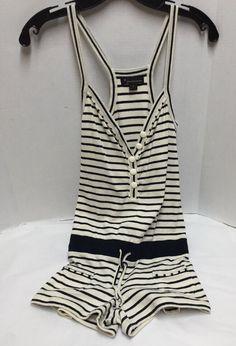 Forever 21 Sleeveless Sz S Romper Shorts Nautical 2 Pockets Blue White Stripes #FOREVER21 #Romper #Casual