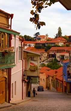 Grapes dangle from the balconies of Sighnaghi, a picturesque town in the Kakheti region of Georgia.